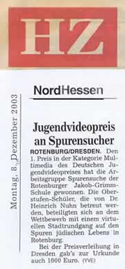 Jugendvideopreis an Spurensucher
